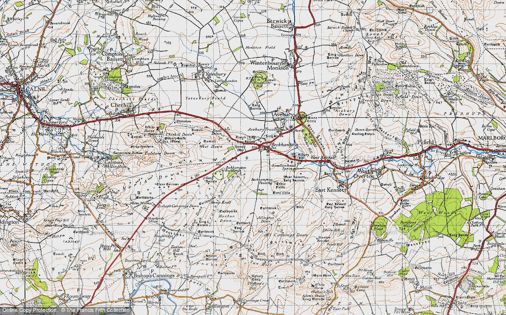 Old Map of Historic Map covering Allington Down in 1940