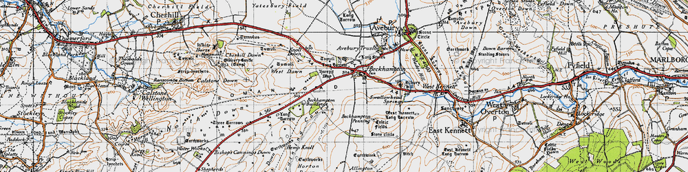 Old map of Beckhampton in 1940