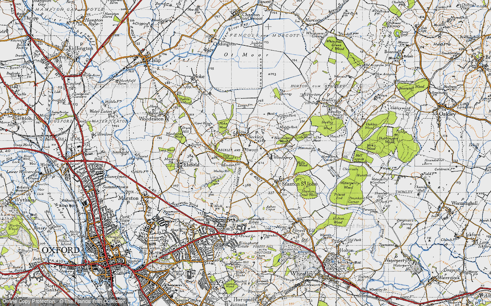 Old Map of Historic Map covering Woodperry in 1946