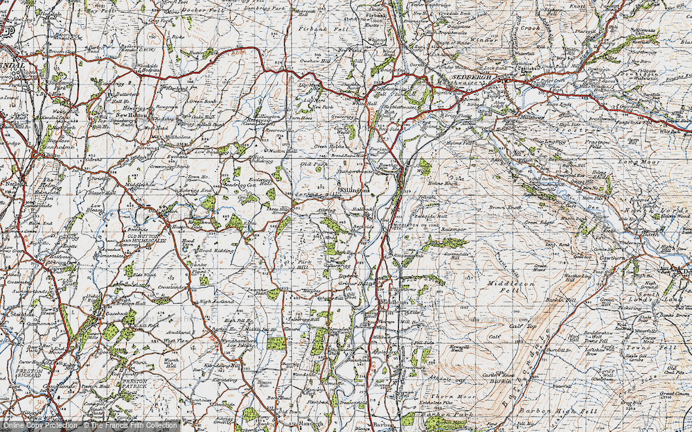 Old Map of Historic Map covering Aikrigg in 1947