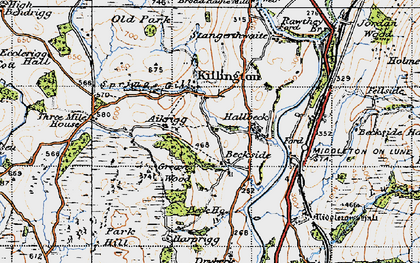Old map of Aikrigg in 1947