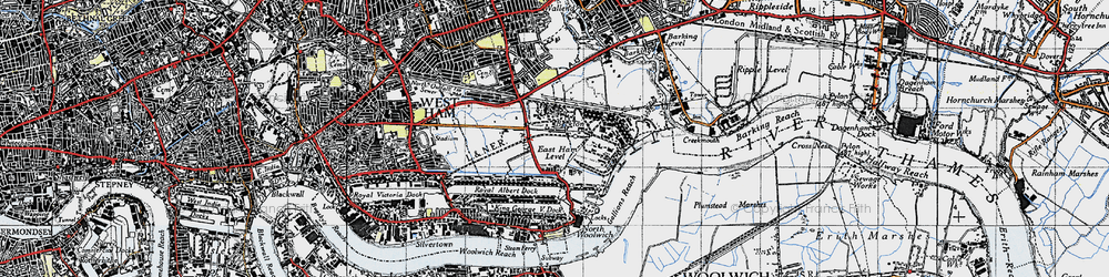 Old map of Beckton in 1946