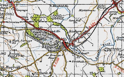 Old map of Bedale in 1947