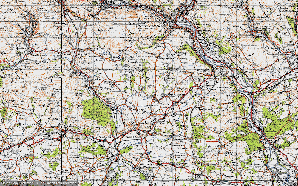 Old Map of Beddau, 1947 in 1947