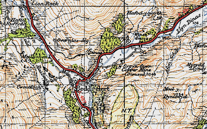 Old map of Beddgelert in 1947