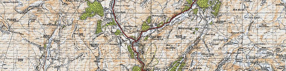 Old map of Beddgelert in 1947