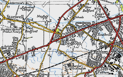 Old map of Bedfont in 1940