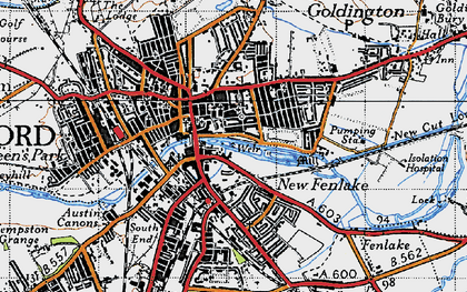 Old map of Bedford in 1946