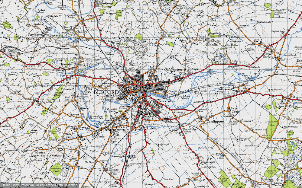 Map of Bedford 1946 Francis Frith