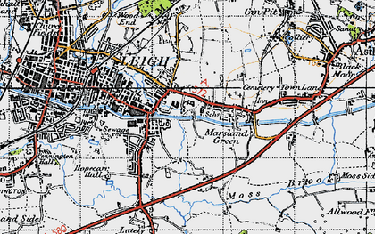 Old map of Bedford in 1947
