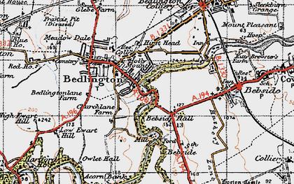 Old map of Bedlington in 1947