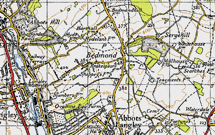 Old map of Bedmond in 1946