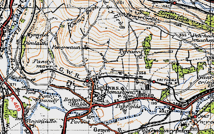 Old map of Bedwas in 1947