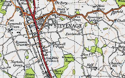 Old map of Bedwell in 1946