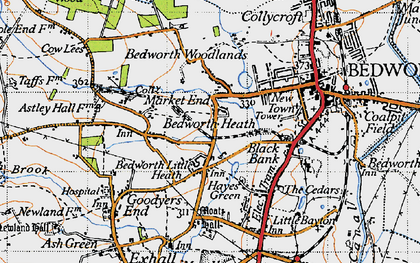 Old map of Bedworth Heath in 1946