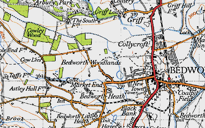 Old map of Bedworth Woodlands in 1946