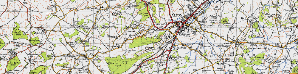 Old map of Ackender Wood in 1940