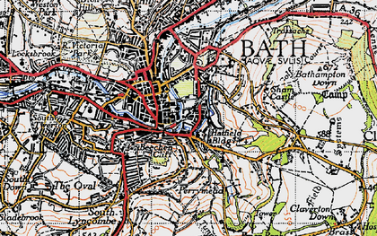 Old map of Beechen Cliff in 1946