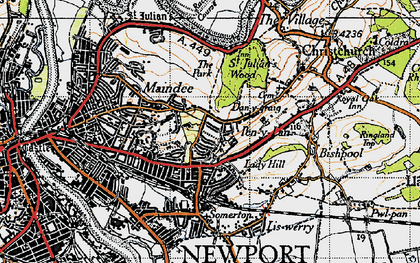Old map of Beechwood in 1946