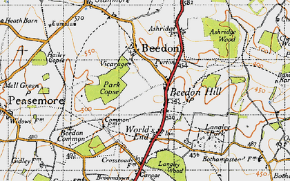 Old map of Beedon Hill in 1947