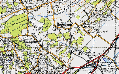 Old map of Beenham in 1945