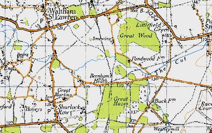 Old map of Beenham's Heath in 1947