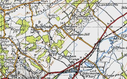 Old map of Beenham Stocks in 1945