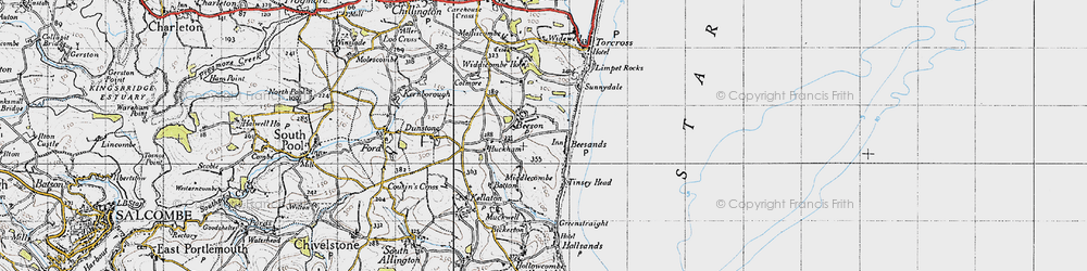 Old map of Widdicombe Ho in 1946