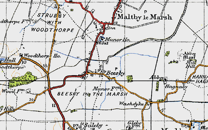 Old map of Beesby in 1946