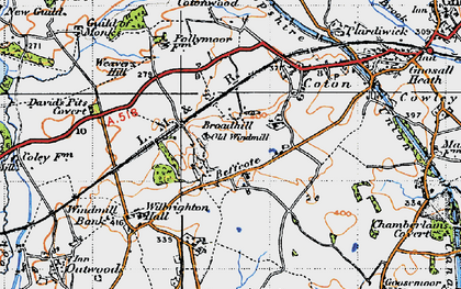 Old map of Broadhill in 1946