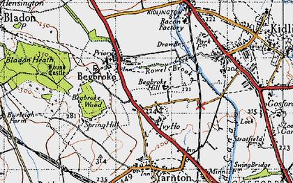 Old map of Begbroke in 1946