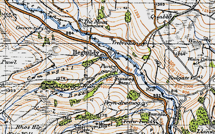 Old map of Beguildy in 1947