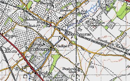 Old map of Bekesbourne in 1947