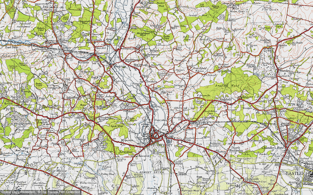 Old Map of Historic Map covering Abbotswood in 1945