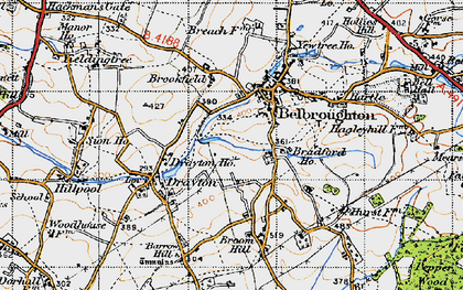 Old map of Belbroughton in 1947