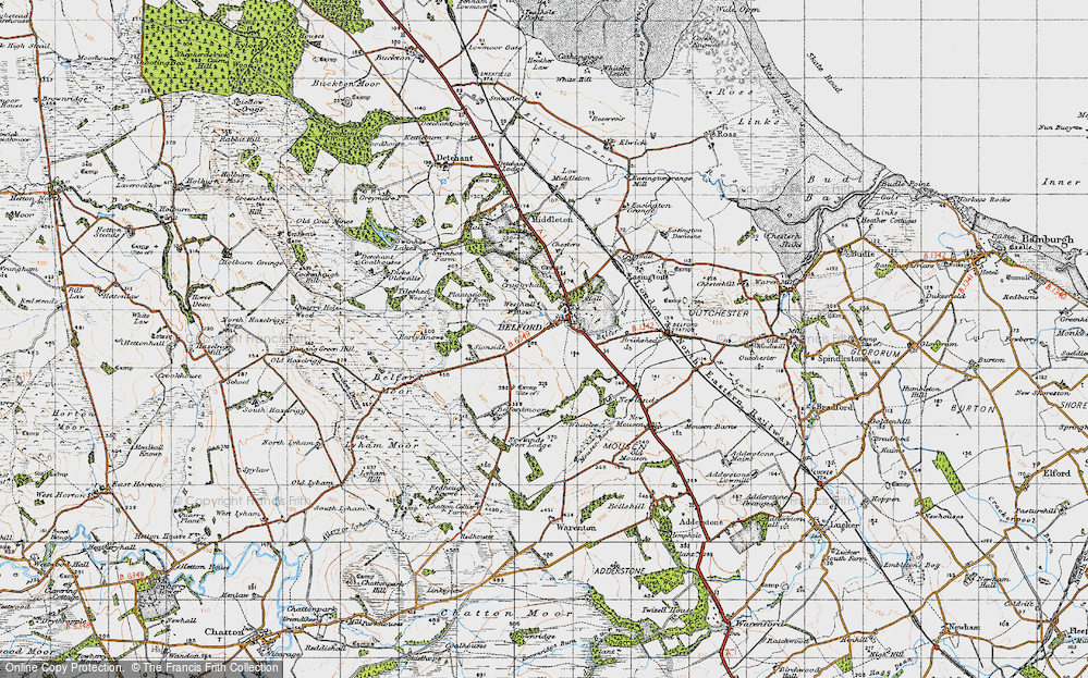 Old Map of Historic Map covering Whitelee in 1947