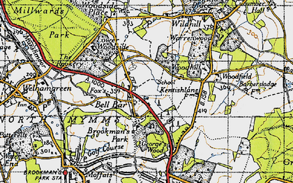 Old map of Bell Bar in 1946