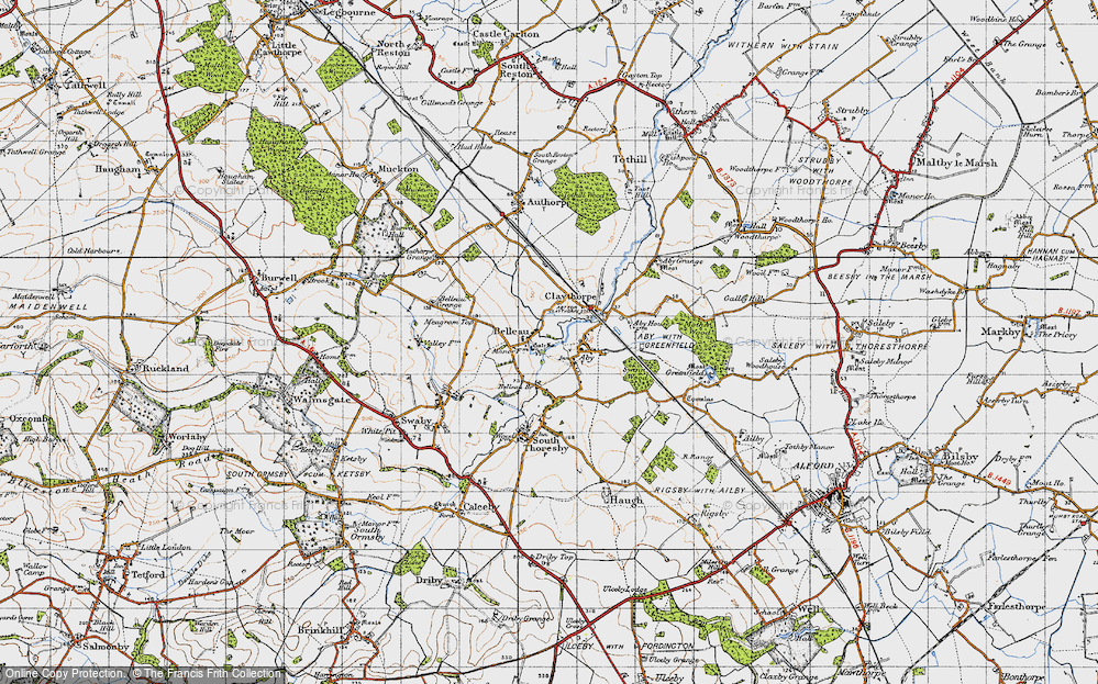 Old Map of Belleau, 1946 in 1946