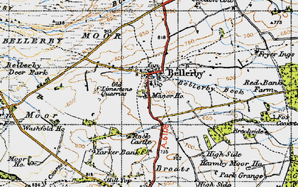 Old map of Bellerby in 1947