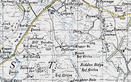 Old map of Laughter Tor in 1946