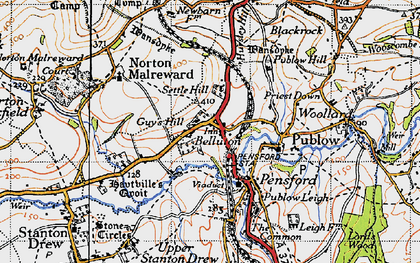 Old map of Belluton in 1946
