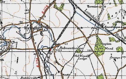 Old map of Belmesthorpe in 1946