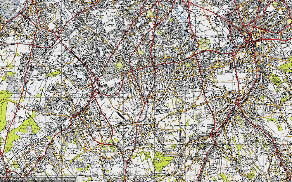 Old Map of Historic Map covering Banstead Downs in 1945