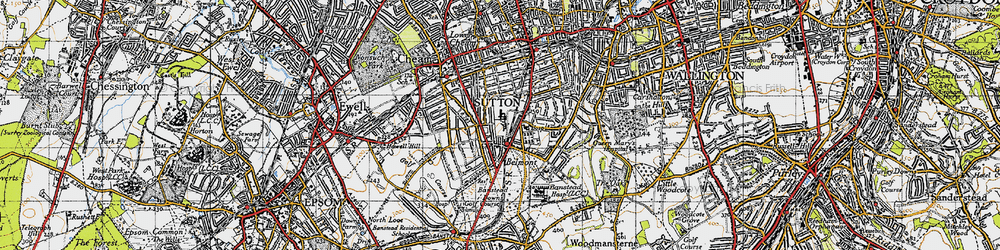 Old map of Belmont in 1945