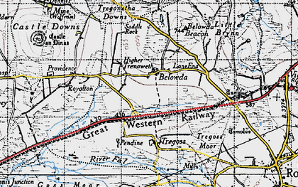Old map of Belowda in 1946