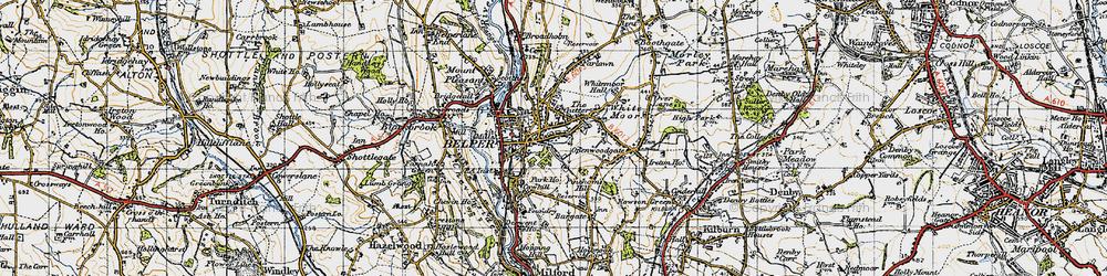 Old map of Belper in 1946