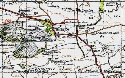 Old map of Belsay in 1947