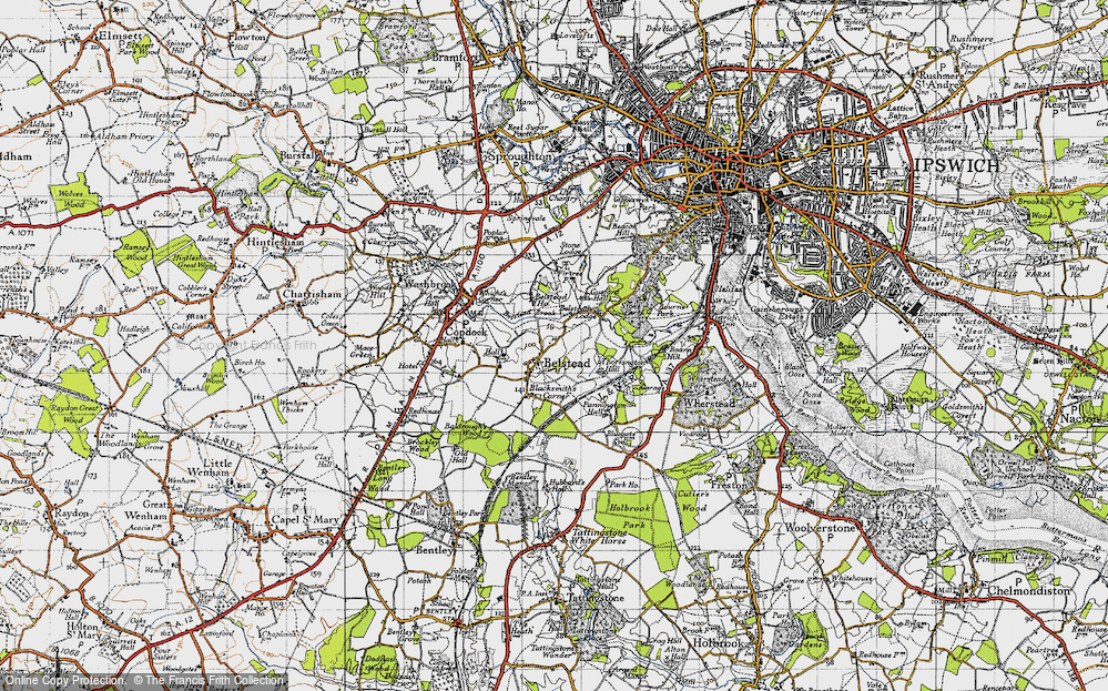 Old Map of Belstead, 1946 in 1946