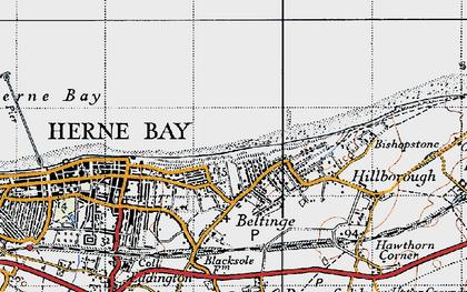 Old map of Beltinge in 1947
