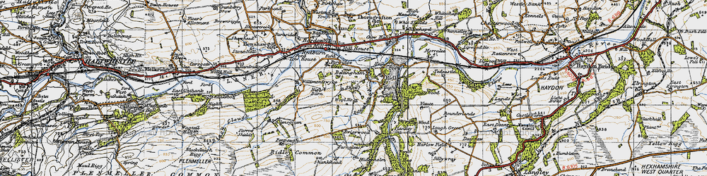 Old map of Wool Ho in 1947